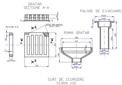 Guri de scurgere din fonta pentru poduri T1G1 350X350 MM CU PALNIE DE EVACUARE - Guri de scurgere din fonta pentru poduri T1G1 350X350 MM – CU PALNIE DE EVACUARE