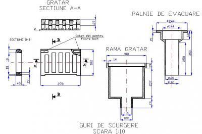 Guri de scurgere din fonta pentru poduri T1G2 CU PALNIE DE EVACUARE - Guri de scurgere din fonta pentru poduri T1G2 CU PALNIE DE EVACUARE