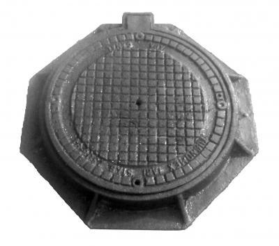 RAMA CU CAPAC CAROSABIL ROTUND din fonta cenusie - cu balama