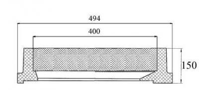Capac patrat cu dimensiuni la interior de 400 x 450 mm clasa D-400 - Capac patrat cu dimensiuni la interior de 400 x 450 mm clasa D-400